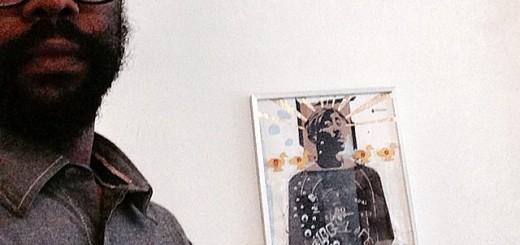 Atlanta artist Michael Jones at his Moving Targets: Full Clip exhibit at Eyedrum