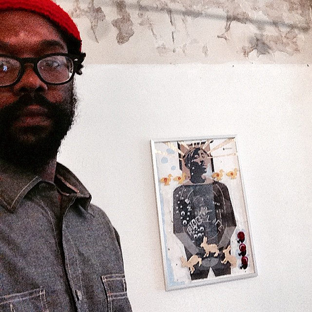 Atlanta artist Michael Jones at his Moving Targets: Full Clip exhibit at Eyedrum